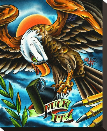 Fuck It Stretched Canvas Print by  2 Cents