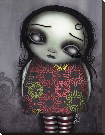 Zombie Girl Stretched Canvas Print by Abril Andrade