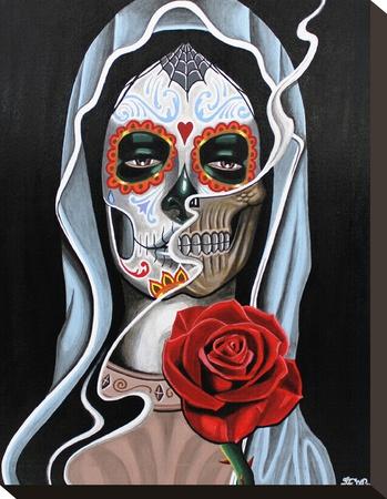 Skull Lady Stretched Canvas Print by Fernando Aparicio