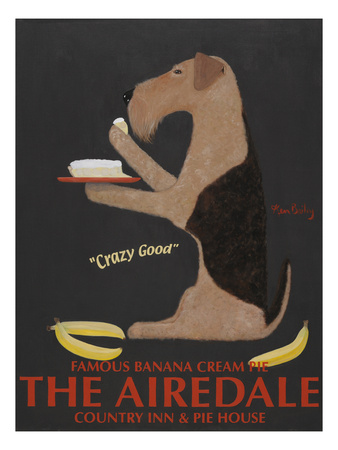 Airedale Banana Cream Giclee Print by Ken Bailey
