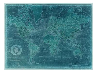 Azure World Map Sanatsal Reprodüksiyon