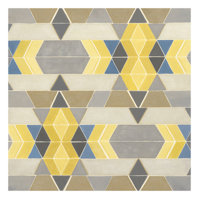 Blue and Yellow Geometry I Prints by Megan Meagher