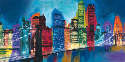 Abstract NYC Skyline at Night Art by Brian Carter