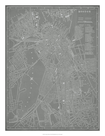 City Map of Boston Giclee Print by  Vision Studio