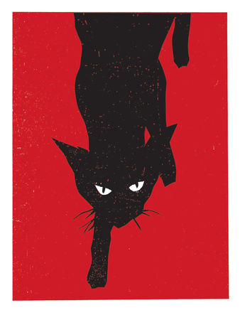 Red and black cat wall art by Print Mafia