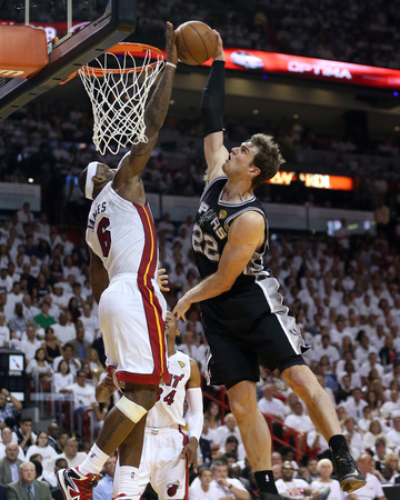 Photo of Lebron James blocks Tiago Splitter dunk, photo taken on June 9 in Miami, Florida
