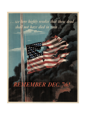 Center Warshaw Collection, Office of War Information Poster. REMEMBER DEC. 7th! Giclee Print