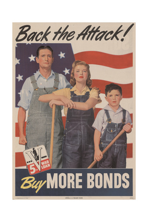 Military and War Posters: Back the Attack! Buy More Bonds! U.S. Government Printing Office, 1944 Giclee Print