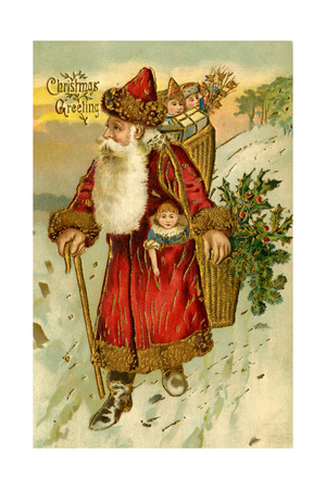 Father Christmas Dressed in Red Walking with a Gold Metallic Cane, Beatrice Litzinger Collection Giclee Print