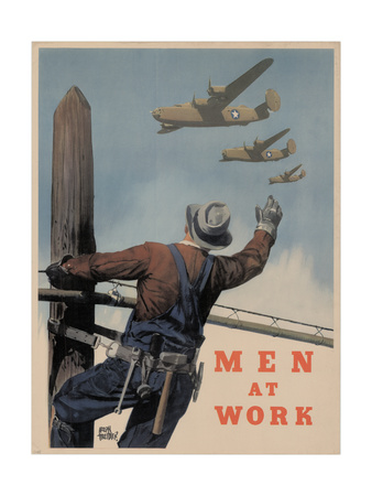 Military and War Posters: Men at Work. Adolph Treidler Giclee Print