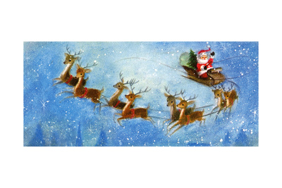 Christmas Card with Santa and his Reindeer, National Museum of American History Giclee Print