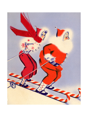 Santa and Woman Together on Candy Cane Skis, National Museum of American History, Archives Center Giclee Print