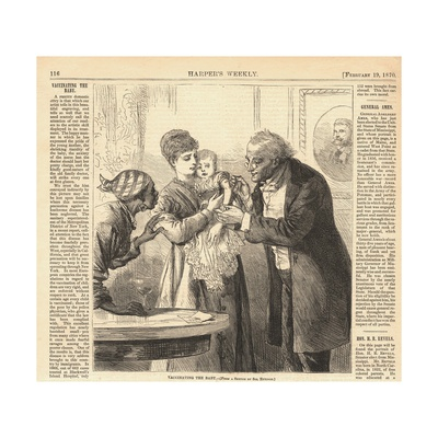 Vaccinating the Baby Against Smallpox in New York Ca. 1870, from Harper's Weekly Prints
