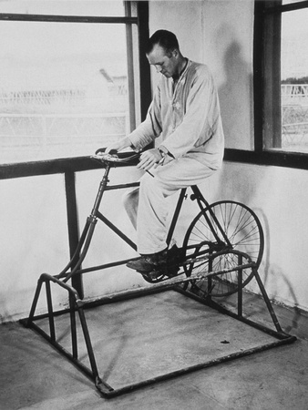 Physical Therapy Patient Using Stationary Bicycle, Ca. 1950 Photo