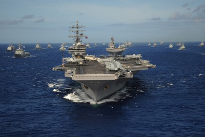 Aircraft Carrier USS Ronald Reagan Leads Allied Ships on Pacific Ocean, July 2010 Photo
