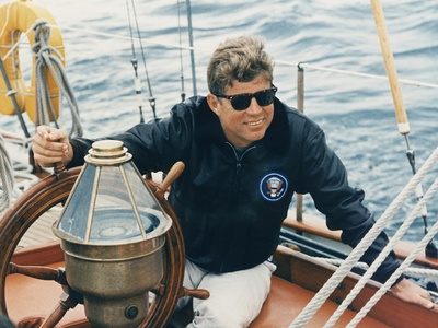 President Kennedy Sailing Aboard US Coast Guard Yacht 'Manitou', Rhode Island, 1962 Photo