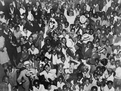 Harlem Crowd Celebrating Joe Louis' Against Victory Against Primo Carnera, 1935 Photo