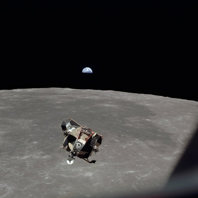 The Apollo 11 Lunar Module Ascending from Moon's Surface, July 20, 1969 Photo