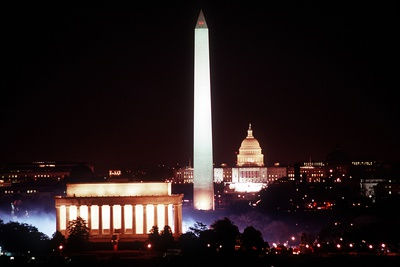 Illuminated Lincoln Memorial, Washington Monument, and US Capitol, Jan 18, 1989 Photo