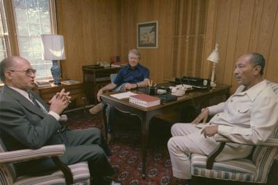 Menahem Begin Jimmy Carter and Anwar Sadat at Camp David Summit, 1978 Photo