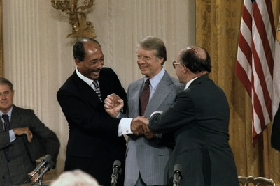 Anwar Sadat, Jimmy Carter, and Menahem Begin at Signing Camp David Accords, 1978 Photo