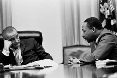 President Lyndon Johnson and Martin Luther King During a Meeting, March 18, 1966 Photo