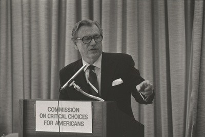 VP Nelson Rockefeller Speaking at Commission on Critical Choices, 1975 Photo