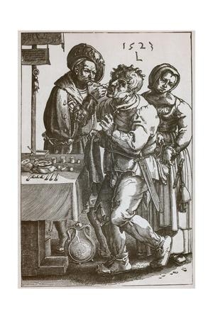 Surgeon Dentist, Pulls a Man's Tooth as a Women Picks His Pocket, Lucas Van Leyden Posters