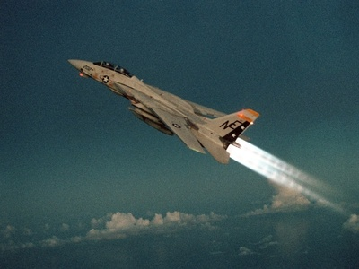F-14 Tomcat Fighter Climbs with its Afterburners Ignited, May 1, 1989 Photo