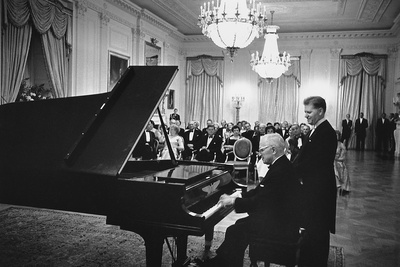 President Truman Plays the White House Piano a Eugene List Waits His Turn, 1961 Photo