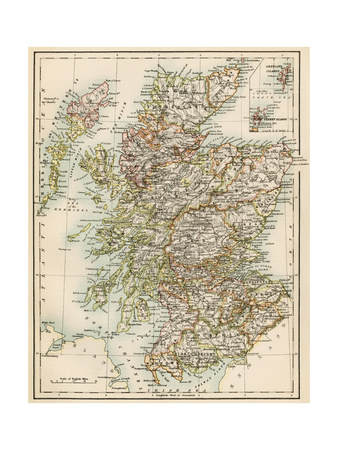 Map of Scotland, 1870s Giclee Print