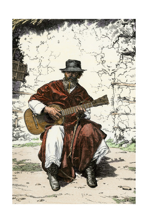 """Argentinian """"Gaucho Cantor,"""" or Cowboy Guitar-Player of the Pampas, 1800s Giclee Print"""