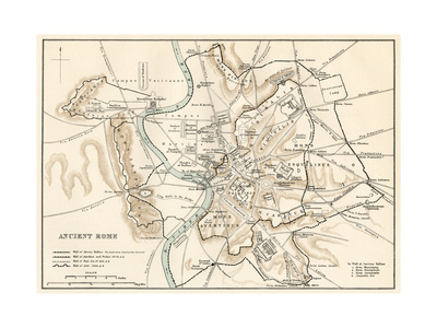 City Plan of Ancient Rome Giclee Print