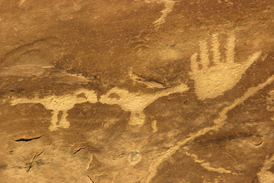 Anasazi/Ancient Puebloan Petroglyphs of the Parrot Clan Symbol, Mesa Verde National Park, Colorado Photographic Print