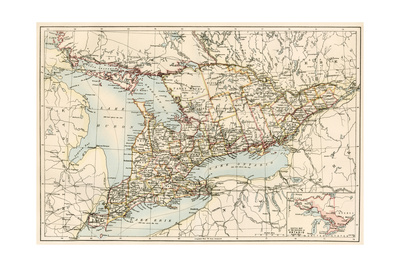 Map of Ontario, Canada, 1870s Giclee Print