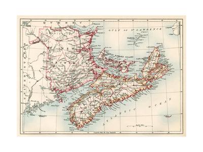 Map of Nova Scotia, Prince Edward Island, and New Brunswick, 1870s Giclee Print