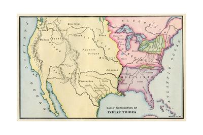 Mapa de Native Américan Locations, cerca de 1700 Lámina giclée