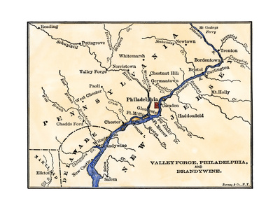 Map of the Philadelphia Area, Valley Forge, and the Brandywine Giclee Print