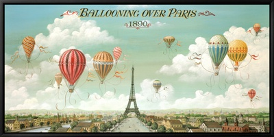 Heißluftballons über Paris Leinwandtransfer mit Rahmung von Isiah and Benjamin Lane
