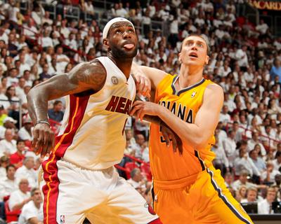 Miami, FL - May 24: LeBron James and Tyler Hansbrough Photo by Issac Baldizon