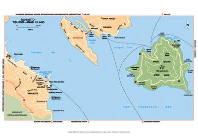 Michelin Official Sausalito Tiburon Angel Island Map Art Print Poster Print
