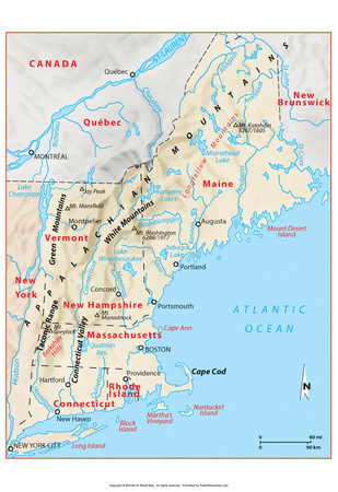 Michelin Official Northern New England Relief Map Art Print Poster Posters