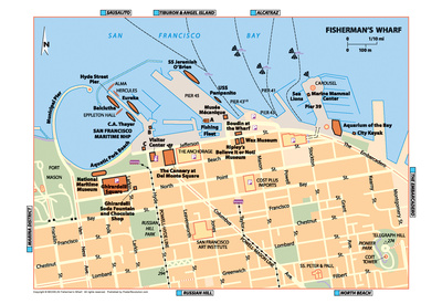 Michelin Official Fisherman's Wharf Map Art Print Poster Prints