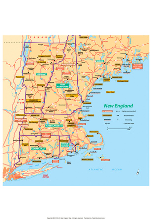 Michelin Official New England Map Art Print Poster Posters