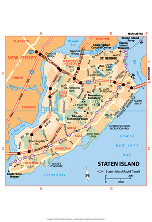 Michelin Official Staten Island NYC Map Art Print Poster Prints