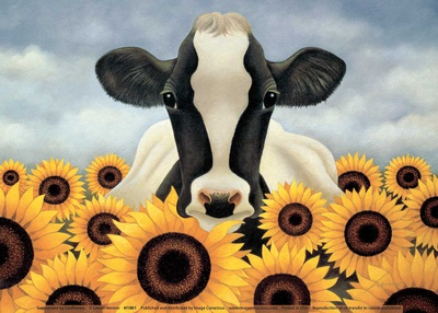 Surrounded by Sunflowers Print by Lowell Herrero