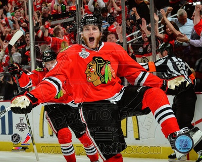 Patrick Kane celebrates his first goal Game 5 of the 2013 Stanley Cup Finals Photo