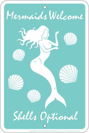 Mermaids Welcome Tin Sign Tin Sign