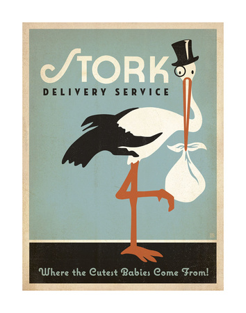 Stork Delivery Service (Blue) Posters by  Anderson Design Group