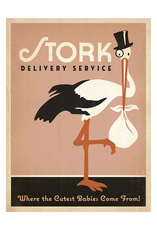 Stork Delivery Service (Pink) Prints by  Anderson Design Group